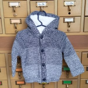 Cozy lined hooded sweater - 12-18mo